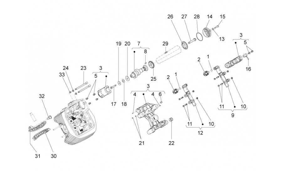 Distribución cilindro izq. (roller)